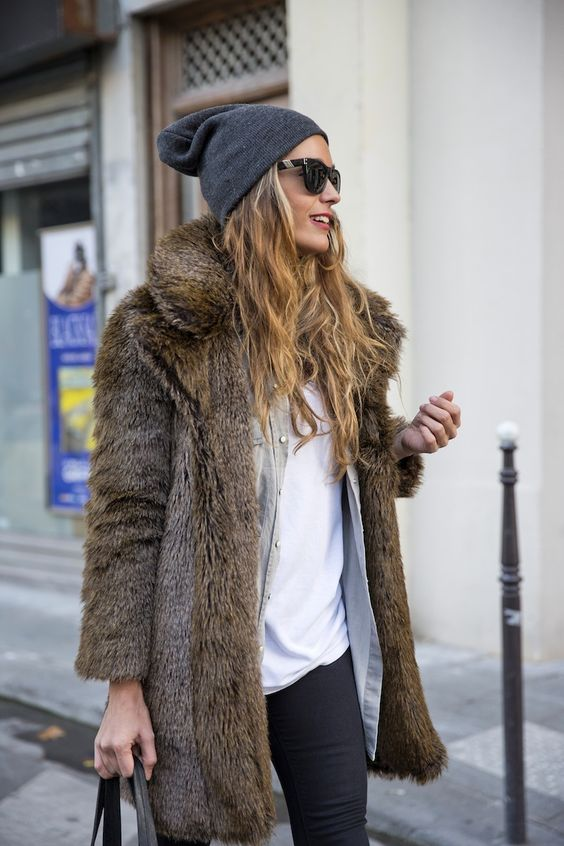 hat headphones and fur coat