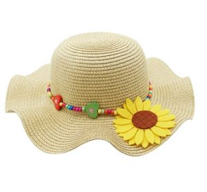Large brim straw hat for kids
