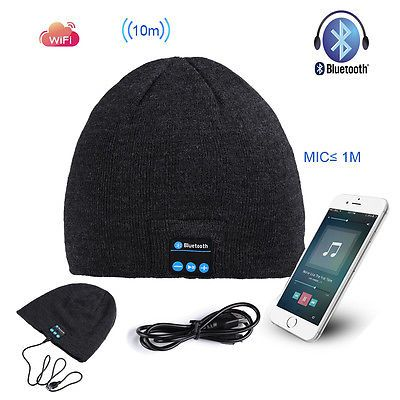 wireless speaker beanie hat connected to phone