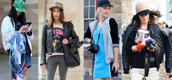 baseball cap with simple dresses or shirts