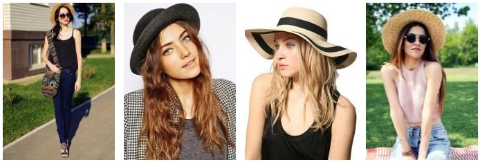 black golden different kind of straw hat
