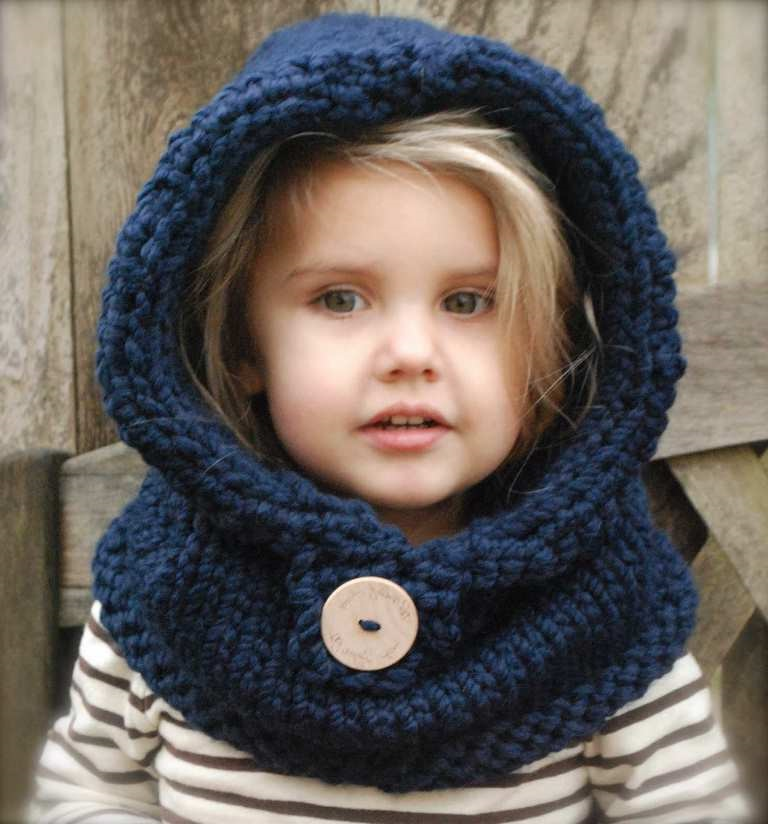 blue color stylish scarf hat for kids