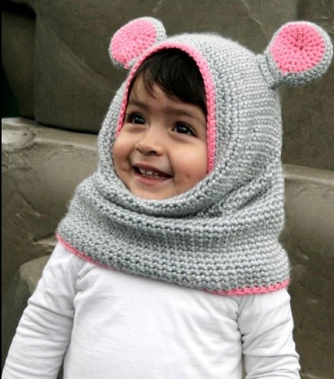 cute animal shape scarf hat
