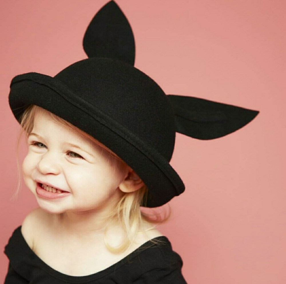 cute black brimless hat with ears