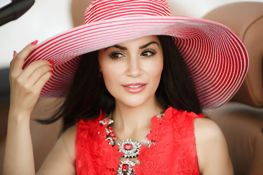 cute pink and white striped straw hat
