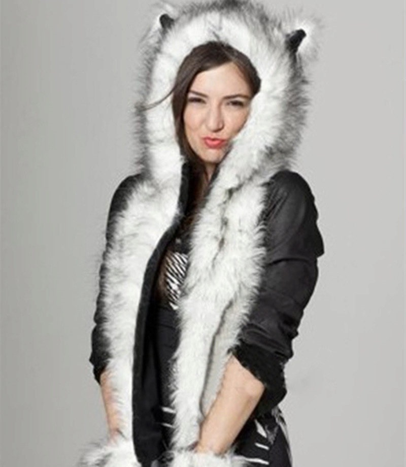 fur hat scarf with ears