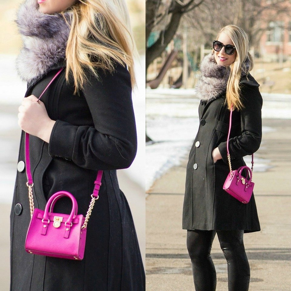 fur scarf with black coat for classic look