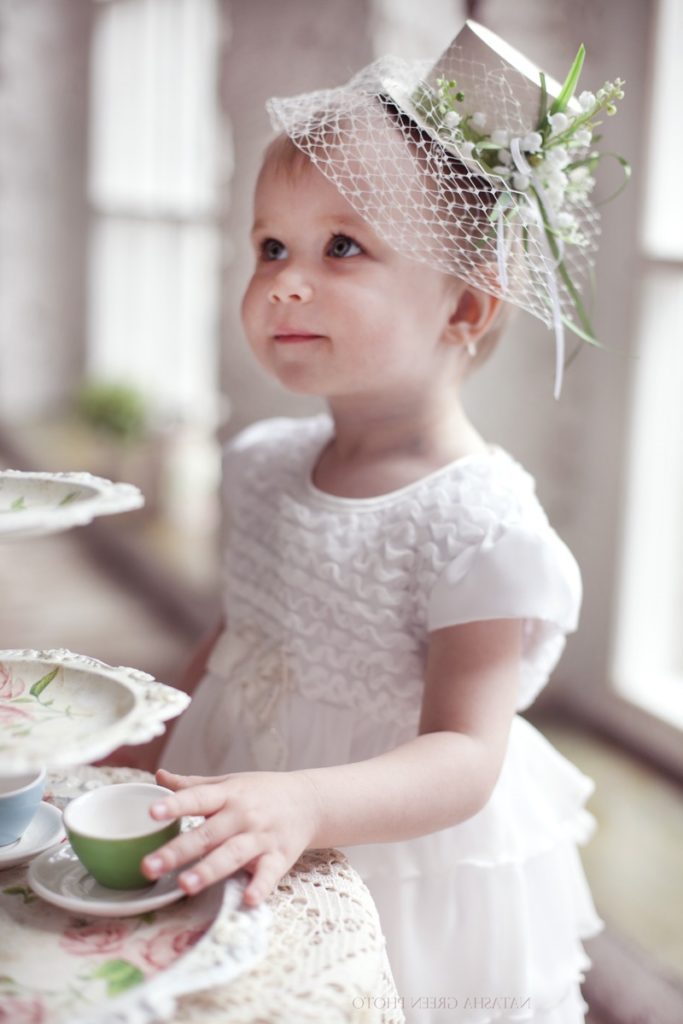 homemade children hats with lace and flower