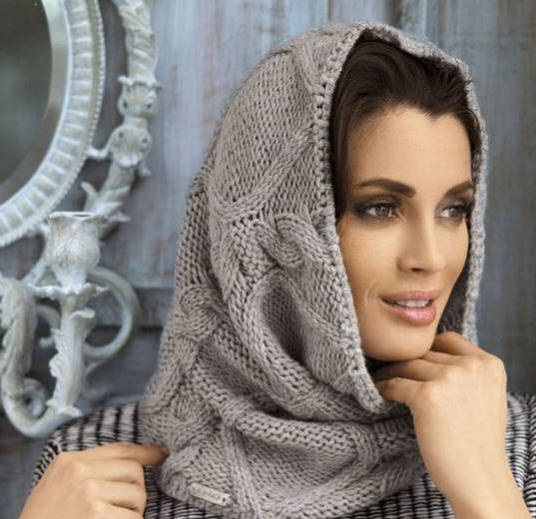 light grey scarf hat for women