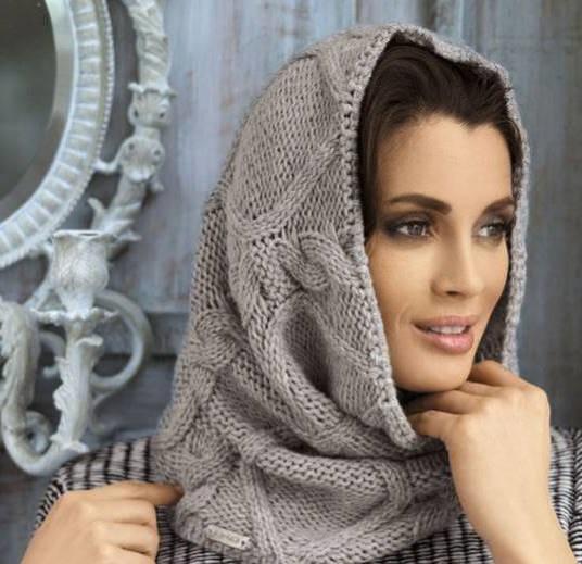 light grey scarf hat for women