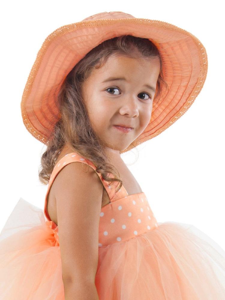 orange color children hat girls