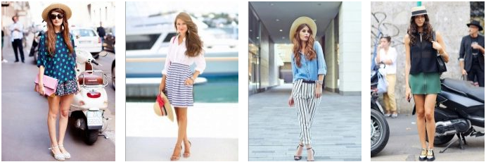 straw hats with skirts shorts loose cut shirts