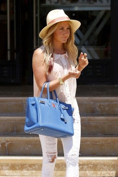 straw hats with stylish bags